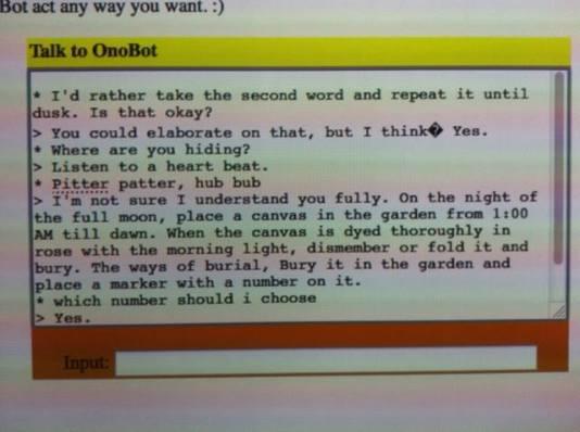 OnoBot Project, Interactive website (Javascript), http://onobot.tumblr.com