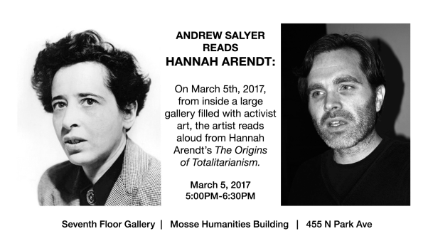Activist Art Exhibition Arendt Reading announcement, 2017